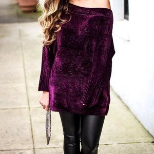 Chenille oversized off shoulder sweater